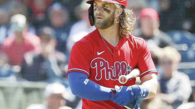 The Philadelphia Phillies' Bryce Harper during a spring training game. Yong Kim/The Philadelphia Inquirer/TNS