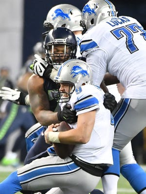 The Lions need to address the loss of Taylor Decker during training camp or quarterback Matthew Stafford will face the prospect of more sacks like this one delivered by Seahawks' Michael Bennett.