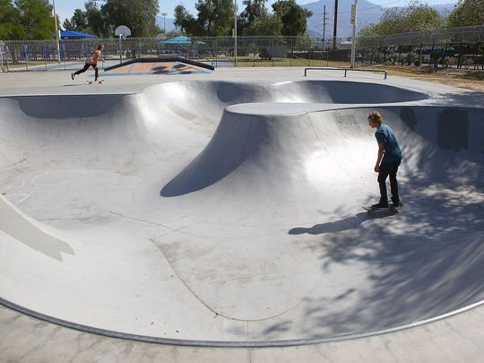 Skaters use the skate park at the La Quinta Park, April 4, 2016. The city is considering building an X Park and is holding a forum on Feb. 27, 2017, at La Quinta High School to get public input.
