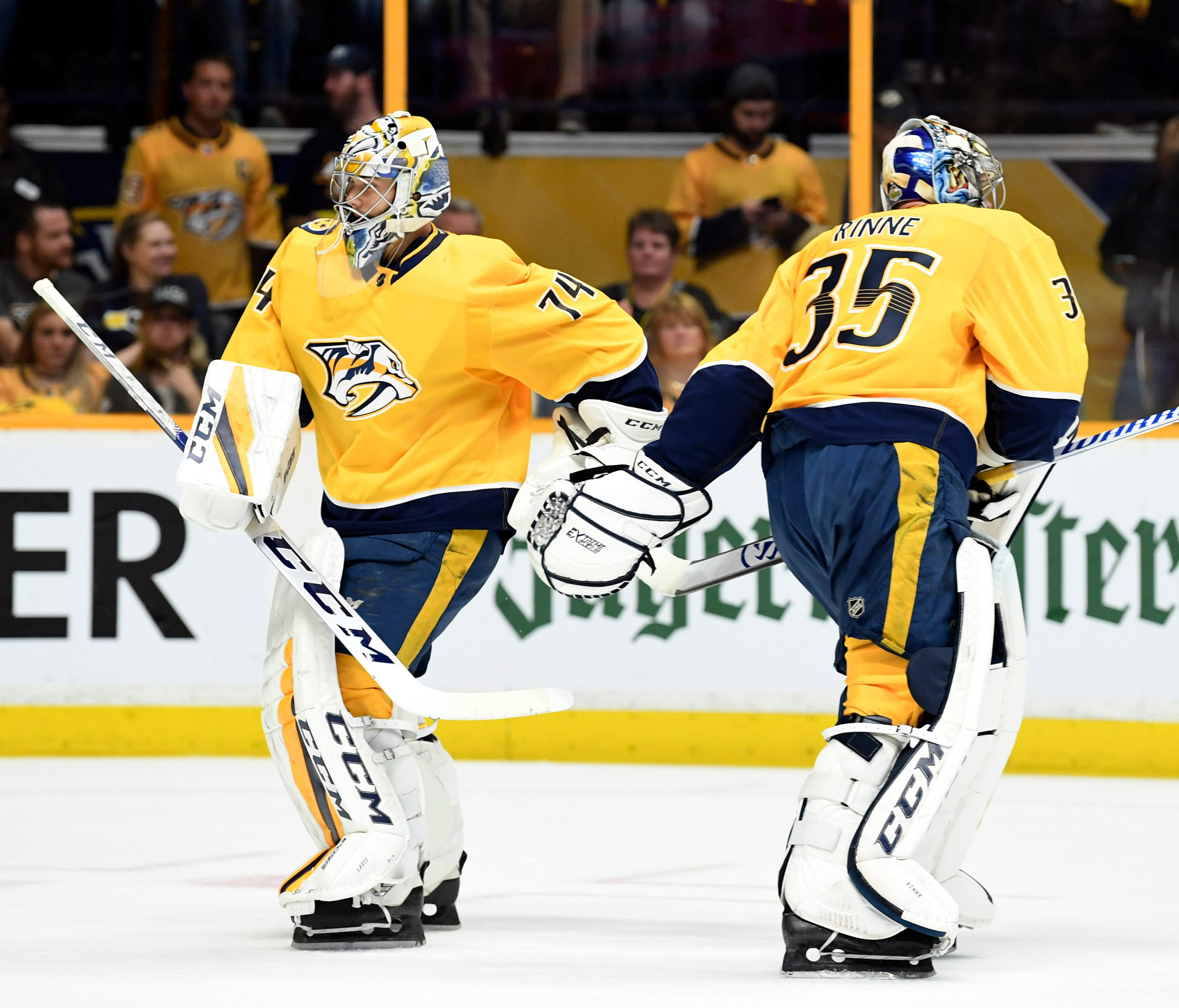 Nashville Predators goalie Pekka Rinne (35) is taken out of the game for goalie Juuse Saros (74) after allowing a two goals during the first period against the Winnipeg Jets in Game 7.