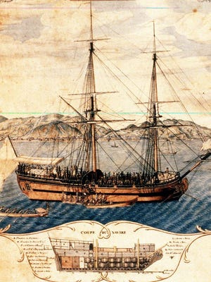 A watercolor by an unknown artist shows the slave ship La Marie-Séraphique in a harbor in Haiti in 1773.