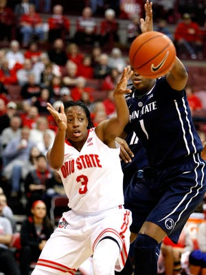 Ohio State's Kelsey Mitchell (3) is currently the nation's leading scorer, averaging 26 points per game.