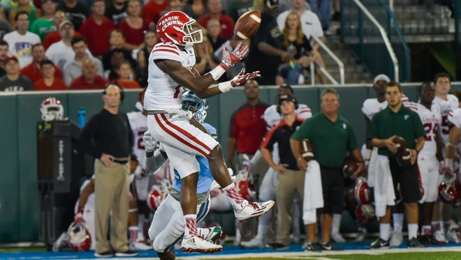 UL's Ja'Marcus Bradley makes a catch for a first down as the Cajuns lose to Tulane on Saturday night.