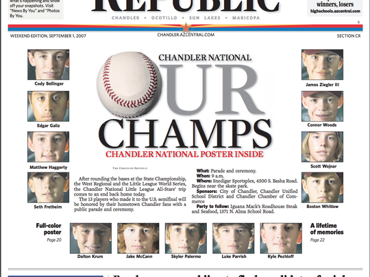 The Chandler National Little League team went to the Little League World Series in 2007 and included future major league-player Cody Bellinger.