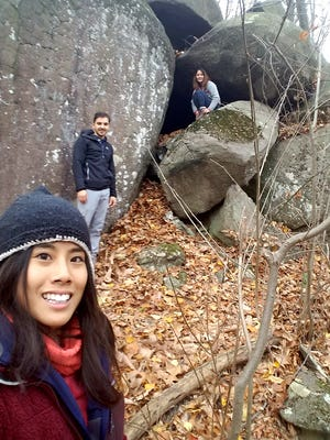 Julia Jen (front, left), George Progulakis and Alina Jen got lost at the boulders section of Clarence Schock Memorial Park near Mt. Gretna on Thanksgiving 2016 and were billed for being rescued.