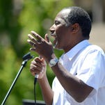 Republican presidential hopeful Ben Carson speaks to a crowd earlier this year at the University of Nevada, Reno.