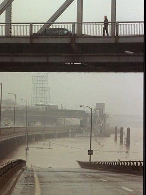 Third Street ramp was flooded.