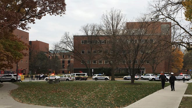 Police respond to reports of an active shooter on campus at Ohio State on Monday, Nov. 28, 2016, in Columbus, Ohio.