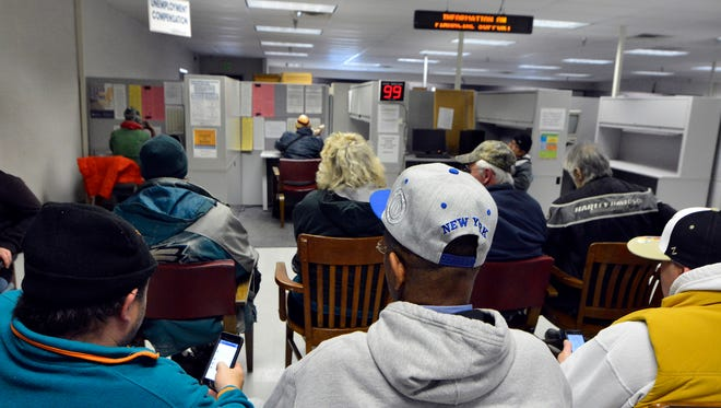 County residents needing to file for unemployment compensation are facing a long wait at CareerLink, Monday, Jan. 9, 2017. John A. Pavoncello photo