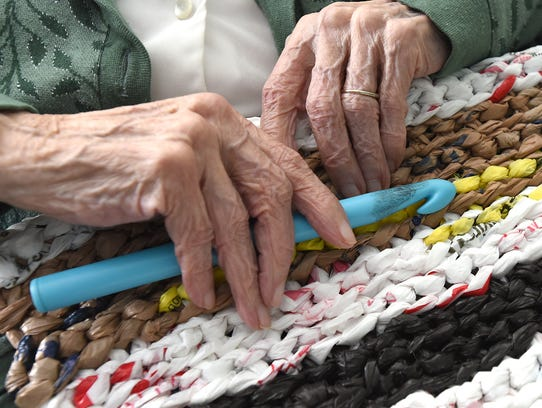 A close-up photo of a mat crocheted by Amelia Blasich