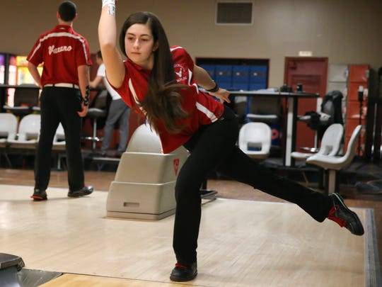 North Rockland's Victoria Varano photographed at Hi-Tor Bowling in West Haverstraw on Friday, January 12, 2018.  Nick & Victoria both bowled perfect games on the same day.