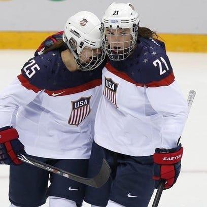 Team USA forwards Alex Carpenter (left) and Hilary