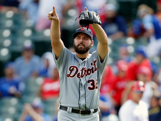 Michael Fulmer reacts to finishing his first career