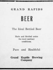 A Grand Rapids Brewing Company newspaper advertisement in 1918 sells its beer on its merits of purity.