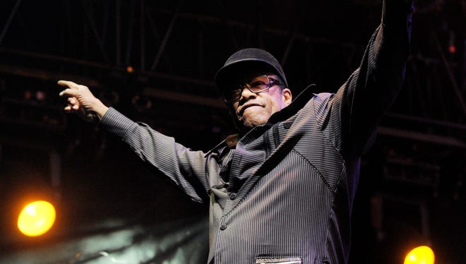 In this April 18, 2010 file photo, singer Bobby Womack performs with Gorillaz at the Coachella Valley Music Festival.  Womack has died at 70.