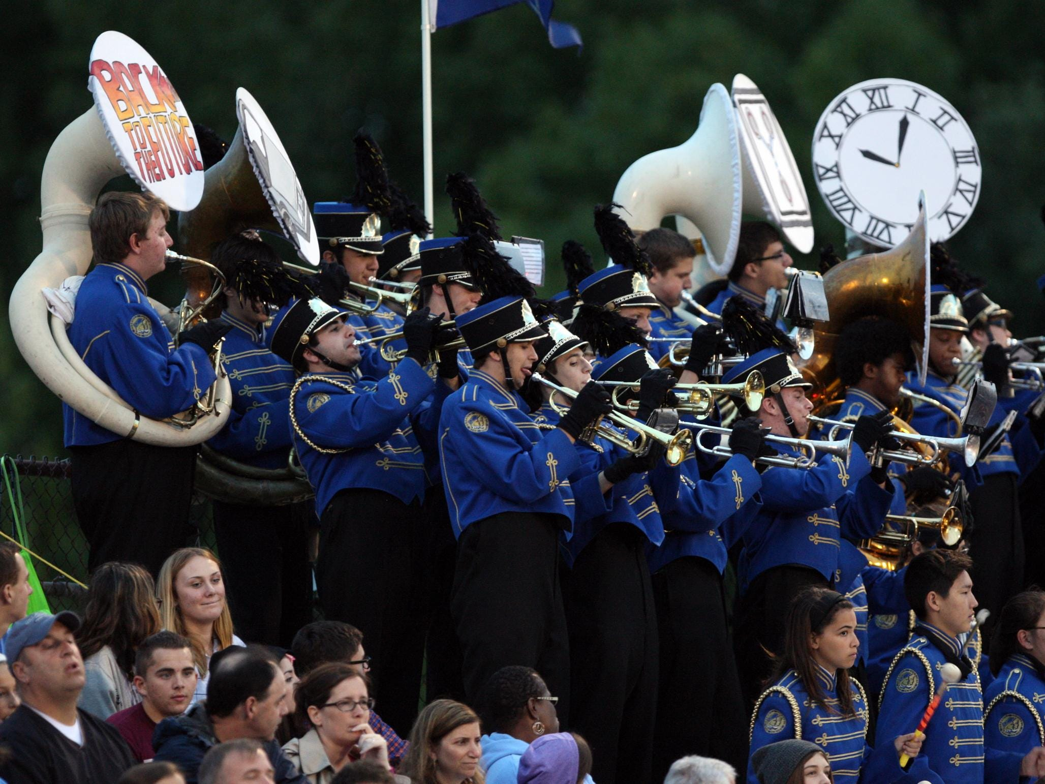 The Freehold Township band plays as their team plays Howell in a football game Friday, September 25, 2015, at Howell High School.