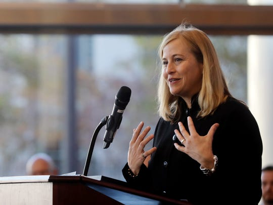 Mayor Megan Barry speaks during an event Wednesday at the Bridgestone Tower.