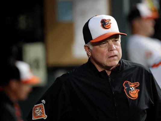 Baltimore Orioles manager Buck Showalter walks in the dugout during the second inning of the team's baseball game against the Toronto Blue Jays in Baltimore, Wednesday, April 5, 2017. (AP Photo/Patrick Semansky)