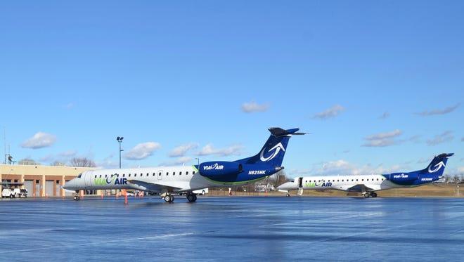 ViaAir airplanes on the tarmac at Shenandoah Valley Regional Airport in Weyers Cave, Va.