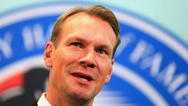 Nicklas Lidstrom takes part in a press conference at Hockey Hall of Fame and Museum on November 6, 2015 in Toronto, Ontario, Canada. Lidstrom will be inducted into the Hall on November 7, 2015.