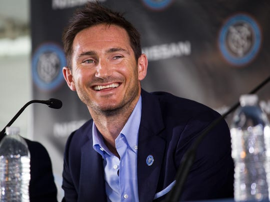 Frank Lampard, of England, smiles during his introduction as a member of the MLS expansion club New York City FC,  Thursday, July 24, 2014, in New York. (AP Photo/Craig Ruttle)