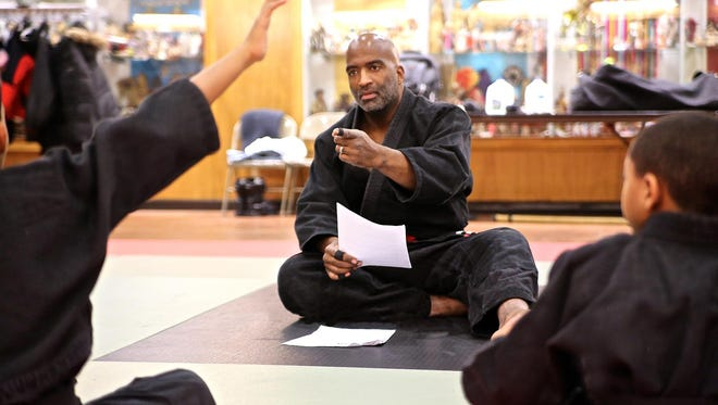 Head instructor Jason Wilson teaching a class at the Cave of Adullam Transformational Training Academy.