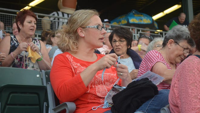Knitters and crocheters enjoy themselves at the Stitch & Pitch game at TD Bank Ballpark in Bridgewater, home of the Somerset Patriots, in 2015.