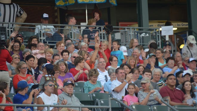 On Aug. 12, 2015, we had a knit/crochet along to make chemo caps during the Somerset Patriots Stitch 'N Pitch game. Counting husbands, we had 125 people in our group for that game.