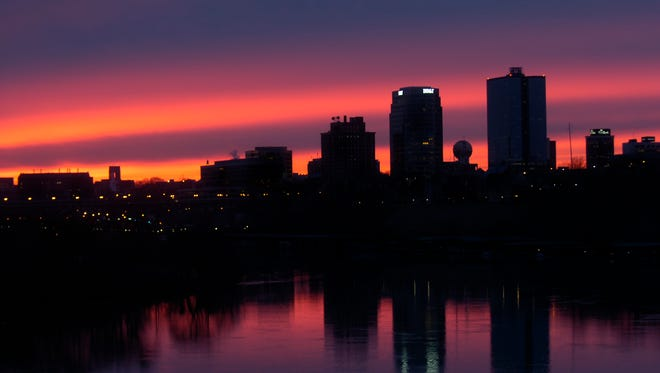 The Knoxville skyline is pictured in silhouette Friday, Feb. 12, 2010 from the South Knoxville bridge.