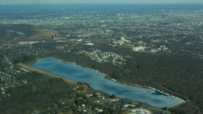 An aerial view of the Cedar Grove Reservoir.