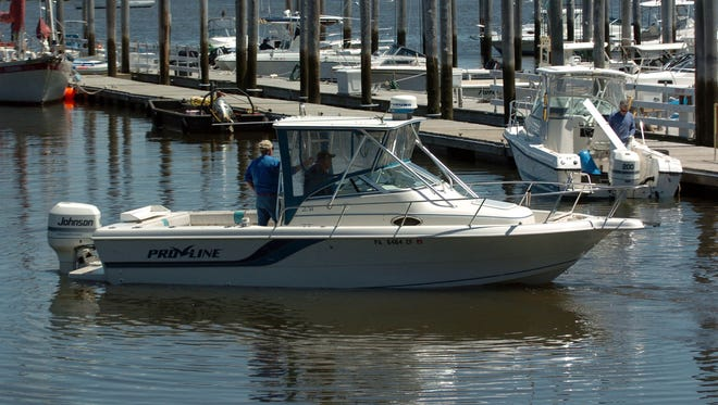 Boaters preparing to go out fishing at Atlantic Highlands Marina in Atlantic Highlands.