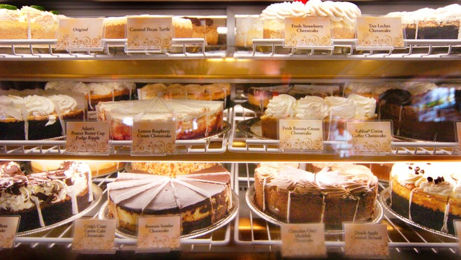 Cheesecake on display at The Cheesecake Factory.