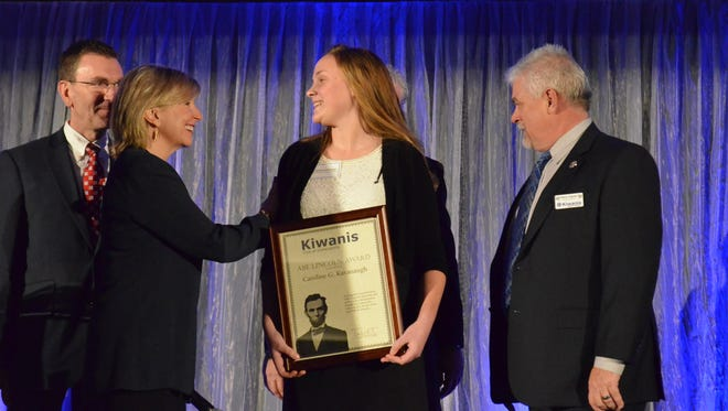 Caroline Kavanaugh receives first place at the Abe Lincoln Scholarship awards banquet at Ivy Tech on Feb. 9. The Perry Meridian High School senior was diagnosed with a brain tumor when she was in fourth grade, and continued to undergo treatment throughout high school.