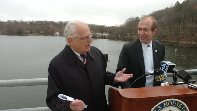 Democratic Rep. Bill Pascrell rarely got along with Republican Scott Garrett when they served together in Congress, but they did appear together on April 5, 2007, to mark the opening of the floodgates at the Pompton Lakes Dam. TYSON TRISH / THE RECORD