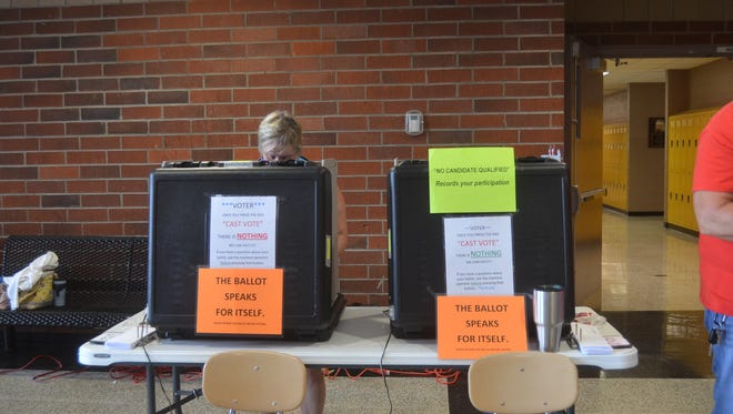 Kathy Dvorak votes at Hendersonville High School Aug. 2, 2018.