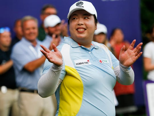 Shanshan Feng, of China, celebrates after winning the Thornberry Creek LPGA Classic golf tournament Sunday, July 7, 2019, in Hobart, Wis. (Chris Kohley/The Post-Crescent via AP)
