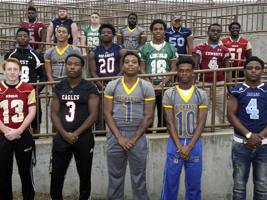 The 2016 All-Big Bend football first-team offense. Bottom row, from left: Chase Allbaugh (Florida High), Terrell Powell (NFC), Destin Coates (Rickards), Javon Wooten (Rickards), Offensive Player of the Year Tony Street (East Gadsden); Middle row, from left: Dentarrius Yon (West Gadsden), D.J. Phillips (Rickards), Brandon Berry (Wakulla), Chris Brimm (Lincoln), Teryon Henderson (Madison County); Back row, from left: Jamarion Coasey (Madison County), Austin Nichols (Wakulla), Tom Moss (Lincoln), Travius Harris (Rickards), Willie Cox (East Gadsden), Christian Patterson (Florida High). Not pictured: Chris Reaves (Taylor County), Sammy Carter (West Gadsden), Marcus Riley (Rickards).