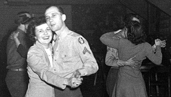 Dancing cheek to cheek at a USO dance at the Millville Army Air Field during World War II.