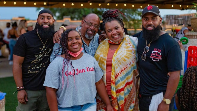 The opening of Down South CaJJun Eats, a Cajun restaurant at 15630 Vision Dr. in Pflugerville,  is the fulfillment of a longtime dream for Jermaine Dumes (far right) and Jahmaal Dumes (far left) with the support of his parents, Angelia and Dennis Dumes and sister, Trinity.