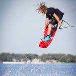 Slingshot pro Alex Graydon of Alabama performs a maneuver in a wakeboarding earlier this year. Graydon will be among the 10 pros competing on Benton's Cypress Black Bayou this weekend.