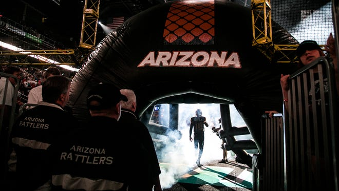 Rattlers take the field before their game against the Kiss at US Airways Center in Phoenix, AZ on July 26, 2015.