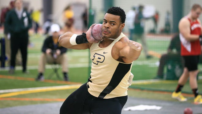 Purdue's Chukwuebeka Enekwechi leads the world so far in 2016 in the weight throw.