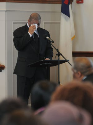 William Pettie II of Staten Island, Ms. Roberts' nephew, gives a tearful speech towards the end of the service.