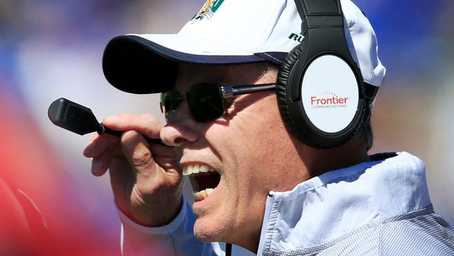 Ohio football coach Frank Solich yells to his players against Kansas on Sept. 10, 2016. Ohio defeated Kansas, 37-21.