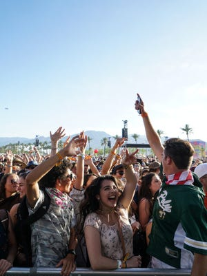 Apr 15, 2017; Indio, CA, USA; A crowd dances to Bastille during the Coachella Valley Music and Arts Festival at Empire Polo Club. Mandatory Credit: Zoe Meyers/The Desert Sun via USA TODAY NETWORK