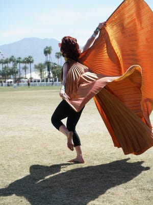 Apr 16, 2017; Indio, CA, USA; Amber Spandau dances to Lee Fields and the Expressions during the Coachella Valley Music and Arts Festival at Empire Polo Club. Mandatory Credit: Zoe Meyers/The Desert Sun via USA TODAY NETWORK