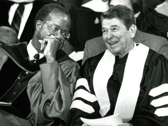 Tuskegee University president Benjamin Payton, left,