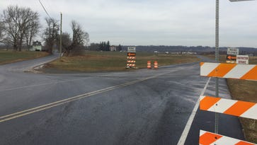 The construction entrance off of Killinger Road, S. Annville, where a road realignment project is underway where the road intersects with Route 422. A Rutter's Farm Store is also being built at the new intersection.