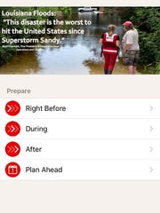 The flood app by the Red Cross includes tips about what to do before, during and after the storm.