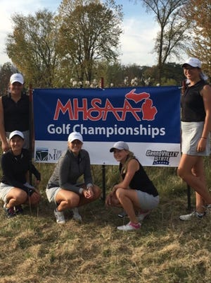 Plymouth's varsity girls golf team finished in fifth place at the Division 1 finals. Top left is Rachel Stibel. Bottom (from left) are Sara Vohra, Erin Johnson and Shae Zydeck. At top right is Maire Sullivan.